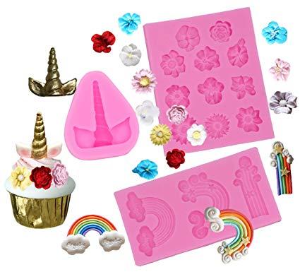 Amazon Com  Unicorn Cupcake Toppers Mold Silicone Rainbow Unicorn