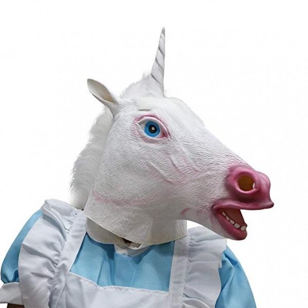 Amazon Com  White Unicorn Horse Latex Mask Anaimal Horse Full
