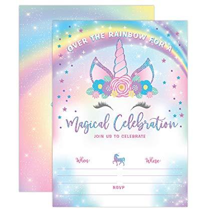 Amazon Com  Yme Unicorn Birthday Invitation, Rainbow Unicorn Party
