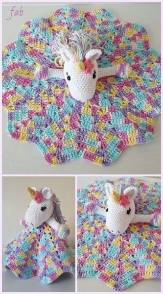 Amigurumi Unicorn Security Blanket Free Crochet Pattern & Paid