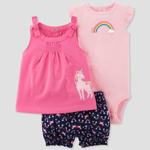 Baby Girls' 3pc Rainewbornow Unicorn Set