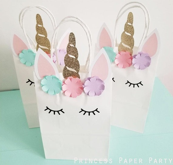 Birthday Party Favor Bags, Unicorn Birthday Party Bags, Unicorn