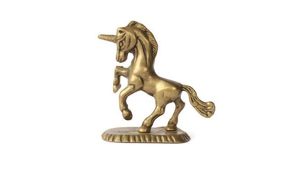 Brass Unicorn Figurine   Vintage Brass Unicorn Statue   Brass