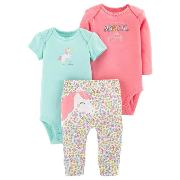 Carter's Baby Girls' 3 Piece Unicorn Clothing Set