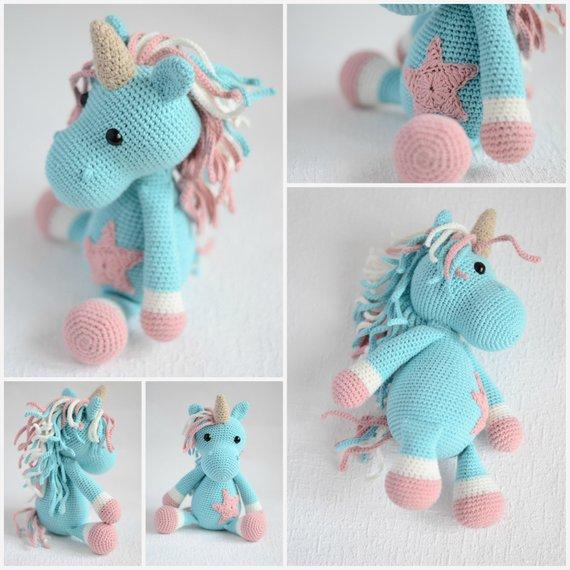 Crochet Unicorn, Rainbow , 11'' (28cm) Baby Toy, Unicorn Party
