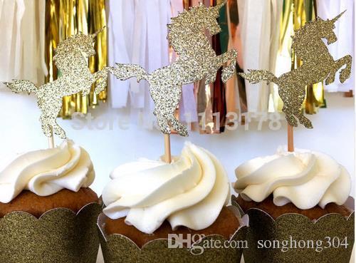 Custom Personality Cheap Unicorn Cupcake Toppers Gold Glitter