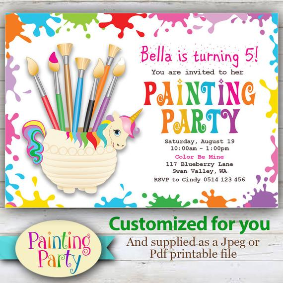 Customized Painting Party Invitation Unicorn And Rainbow