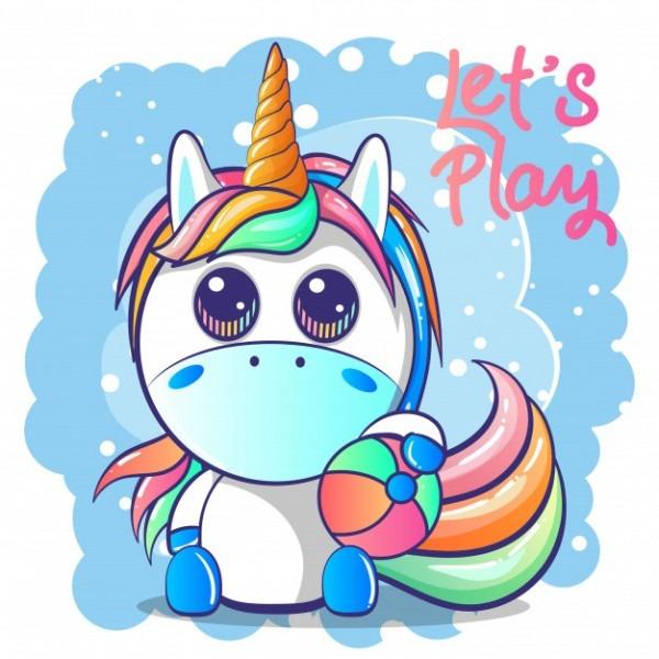 Cute Baby Unicorn Vector