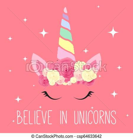 Cute Unicorn Background  Vector Illustration Eps10