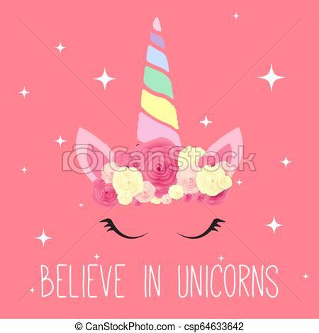 Cute Unicorn Background  Vector Illustration Eps10