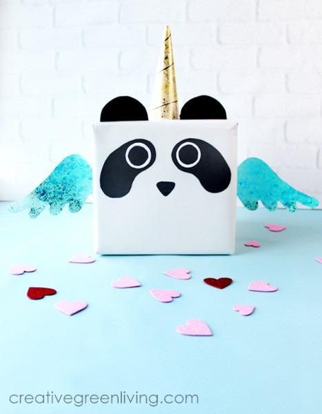 Diy Panda Unicorn Valentine Box With Free Printable Pattern