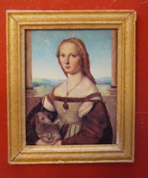 Dollhouse Framed Stamp Raphael's Young Woman With Unicorn