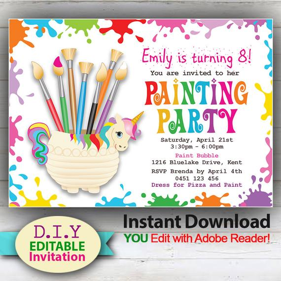 Editable Painting Party Invitation Cute Unicorn And Art