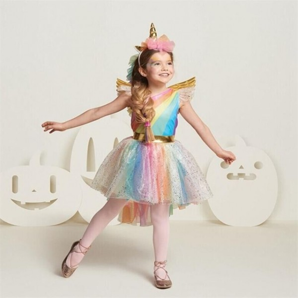 Fancy Children Girls Unicorn Dress Rainbow Princess Kids Tutu
