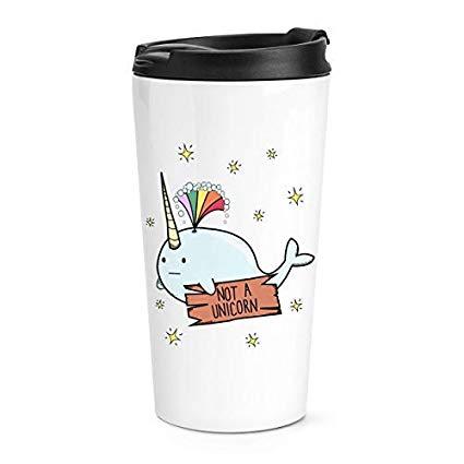 Gift Base Narwhal Not A Unicorn Travel Mug Cup  Amazon Co Uk