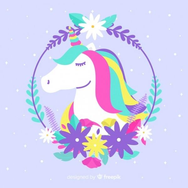 Hand Drawn Cute Unicorn Background Vector