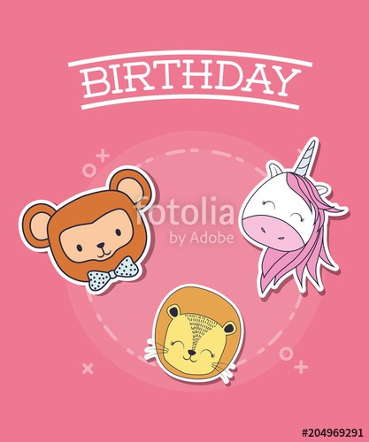 Happy Birthday Design With Cute Unicorn With Monkey And Lion Over