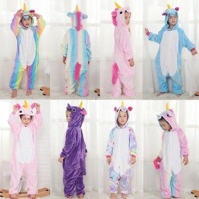 Hot! Kids Rainbow Unicorn Kigurumi Animal Cosplay Costume Pajamas