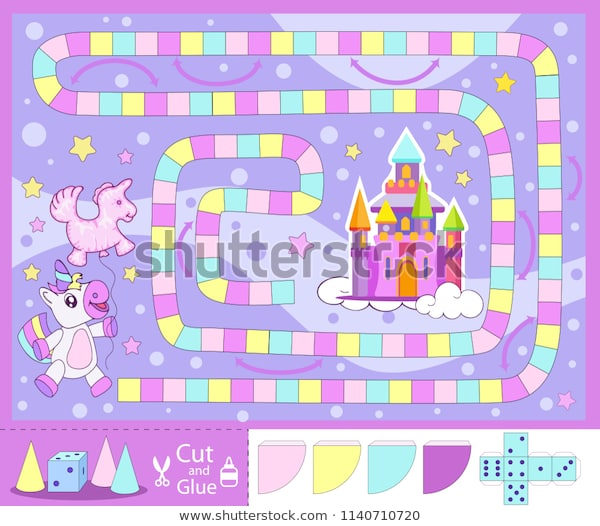 Kids Board Game Unicorn Go Castle Stock Vector (royalty Free