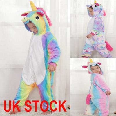 Kids Rainbow Unicorn Kigurumi Animal Cosplay Costume Onsie123