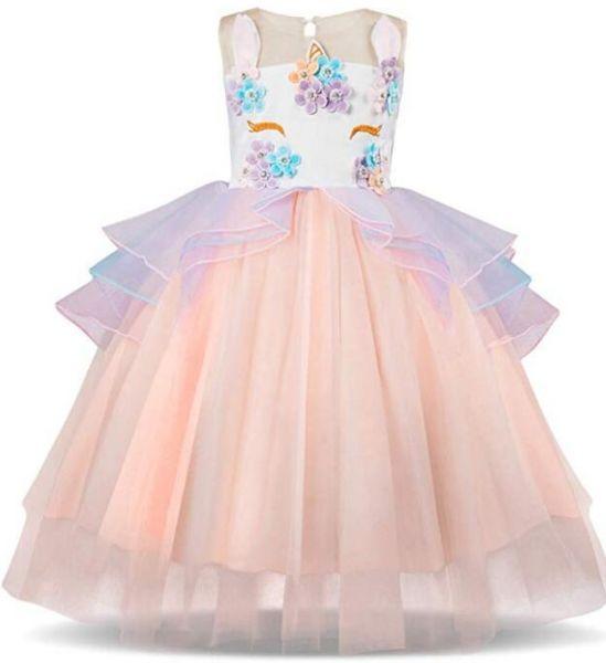 Kids Unicorn Costume Dress Girl Princess Flower Pageant Party Tutu