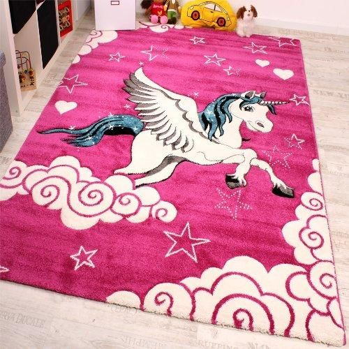Little Unicorn Pink Cream Turquoise Rug 80x150 Cm