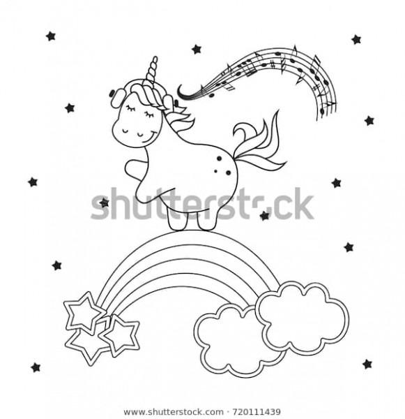 Magic Cute Unicorn Coloring Vector Illustration Stock Vector