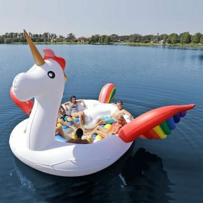 Party Unicorn Island For 6 Person Water Float Lounge Lake Raft