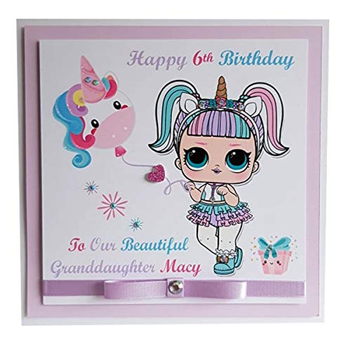 Personalised Unicorn Lol Doll Happy Birthday Card