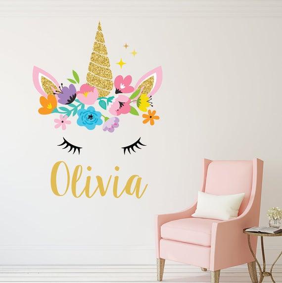 Personalized Name Wall Decal Unicorn Wall Art Girls