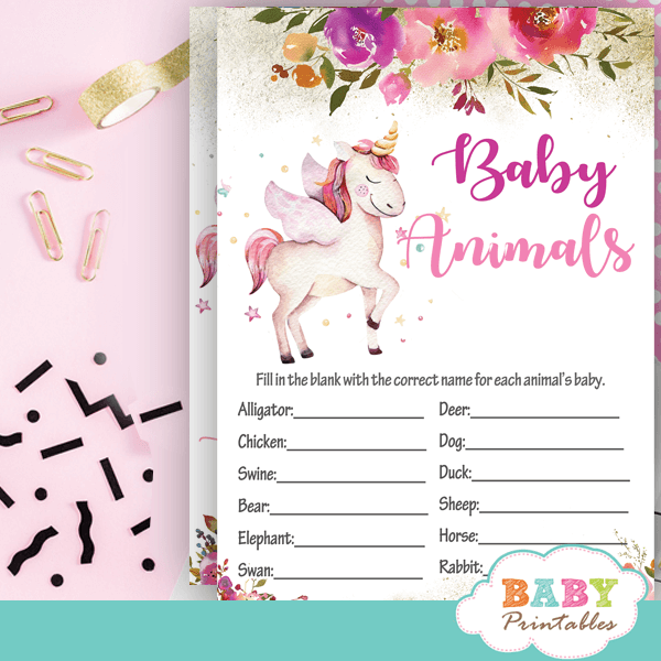 Pink Floral Unicorn Baby Shower Games