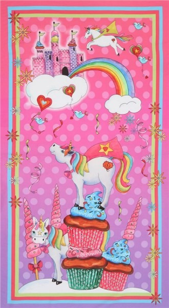 Pink Unicorn Panel Fabric By Quilting Treasures