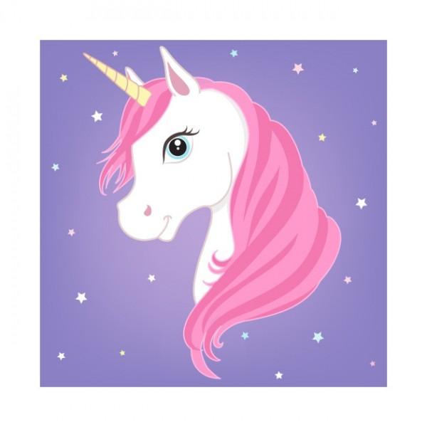 Pink Unicorn Purple Background