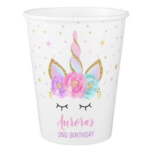Rainbow Unicorn Birthday Paper Cup Pink Gold Cup