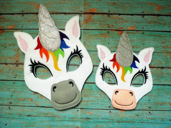 Rainbow Unicorn Masks! Glitter Horn! You Can Customize The Colors
