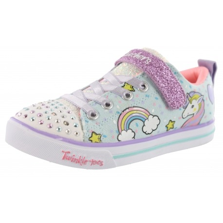 Skechers Twinkle Toes Girls Strap Light Up Shoes Unicorn Craze