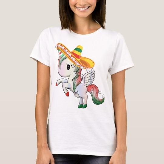 Sombrero Wearing Cinco De Mayo Unicorn Pegasus T