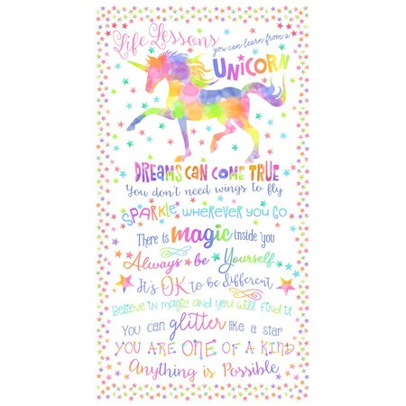 Timeless Treasures, Unicorn Life Lessons Fabric Panel   Sewing