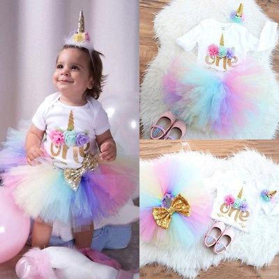 Toddler Baby Girls 1st Birthday Unicorn Romper Rainbow Tulle Skirt