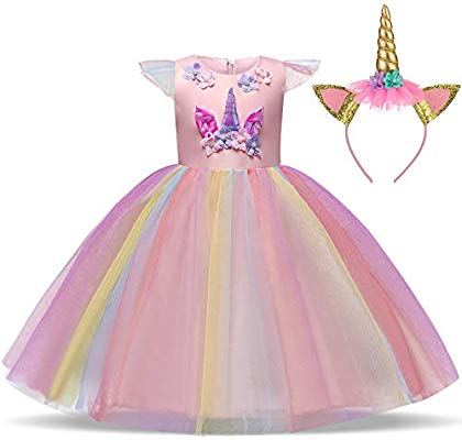 Ttyaovo Girls Unicorn Costume Dress Girl Princess Flower Pageant
