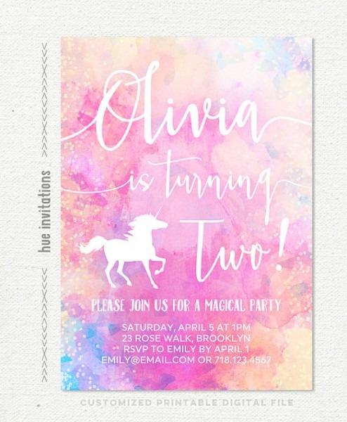 Unicorn 2nd Birthday Invitation Girls Rainbow By Hueinvitations