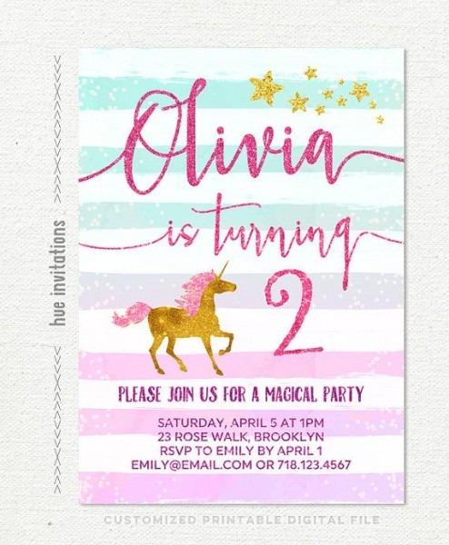 Unicorn 2nd Birthday Party Invitation Girls Unicorn Birthday