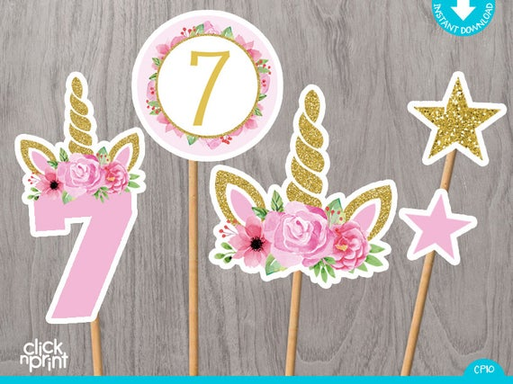 Unicorn 7th Birthday Centerpieces Print Yourself, Printable