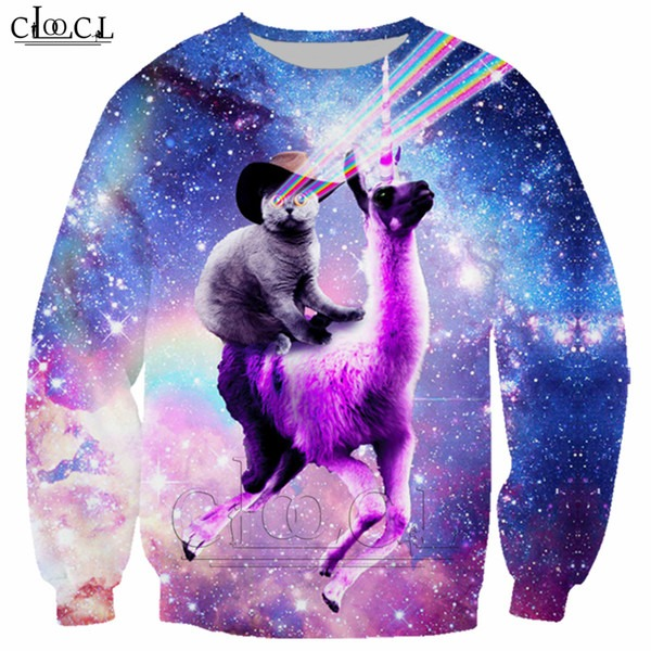 Unicorn And Cat 3d Print Sweatshirt Classic Space Animal T Shirt