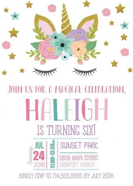 Unicorn Birthday Invitations, Unicorn Invite, Girl Bday Invitation