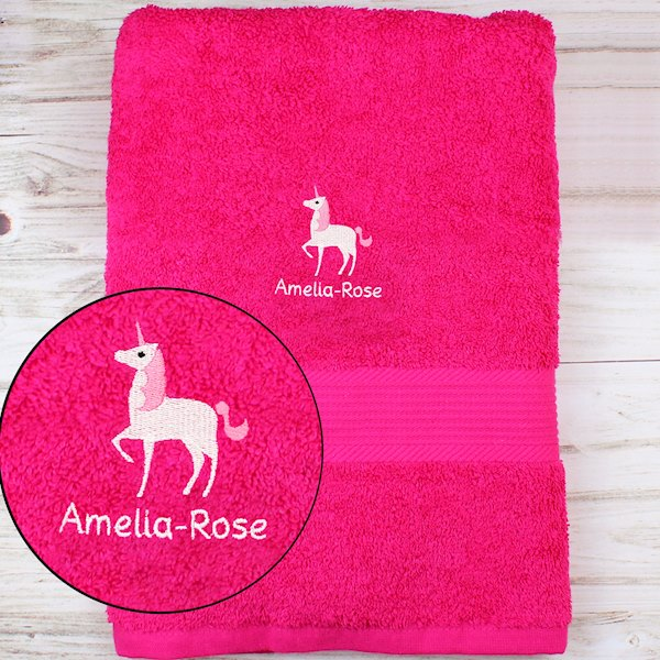 Unicorn Bright Pink Bath Towel