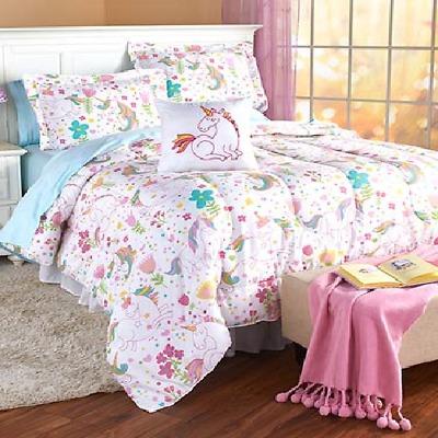 Unicorn Comforter Kids Bed Set Full Queen Size Shames Pillows