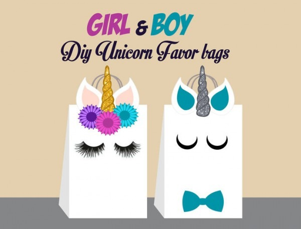 Unicorn Diy Favor Bag Template, Unicorn
