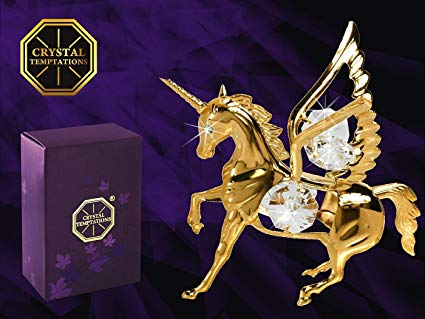 Unicorn Figurine With Swarovski Crystals  Amazon Co Uk  Kitchen & Home