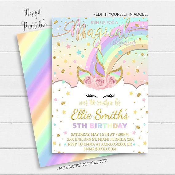 Unicorn Invitation, Rainbow Unicorn Invitation Instant Download